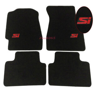 For 92 95 Honda Civic 2dr 4dr Floor Mats Carpet Front Rear W Red Si Embrodery
