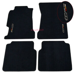 Fits 94 97 Honda Accord Black Nylon Floor Mats Carpets W Mugen Embroidery