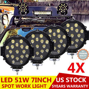 4x Ed Round Work Roof Bumper Rack Spot Lights Fog Driving Lamps 12v 24v 51w 7