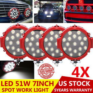 51w 5100lm Offroad Round Led Work Spot Lights Pickup 4x4 Boat Bumper Driving 4x