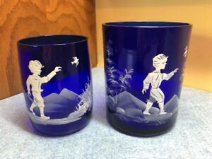 2 Vintage Mary Gregory Cobalt Blue Glass Tumbler Cup Boy With Bird Collectible