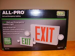 All pro Red green Led Hardwired Exit Light Exit Sign For Business New In The Box