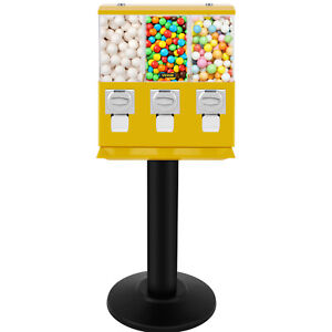 Yellow Triple Bulk Candy Vending Machine Three head W locks keys Candy Dispenser