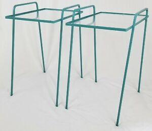 Mid Century Iron Glass Top Stacking Patio Tables With Hairpin Leg Vintage Retro