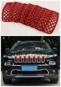 7pcs For 2014 2017 Jeep Cherokee Front Grille Inserts Mesh Grill Accessories red