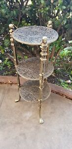 Vintage Hollywood Regency 3 Tier Brass Plate Side Table Plant Stand
