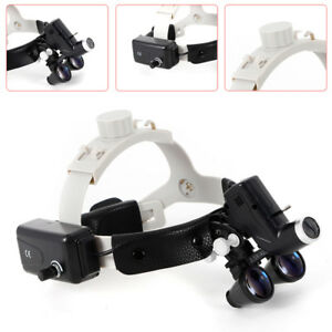 Dental Led Surgical Headlight 3 5x420 Leather Headband Loupe With Light Dy 106