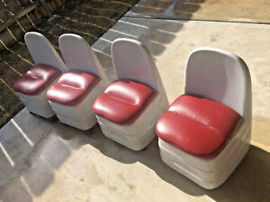 Four Unique Custom Made Low Chairs Cast Heavy Gray Resin Wheels Red Coushins