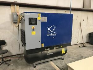 Quincy Qgs 20 2016 20hp Rotary Screw Air Compressor W Dryer Tank