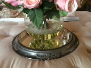 Shabby Vtg Antique Barbola Rose Metal Mirror Plateau Mirror Display