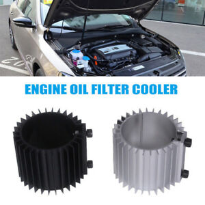 Car Engine Oil Filter Heat Sink Silver Aluminum Alloy Cap Billet Cooling System