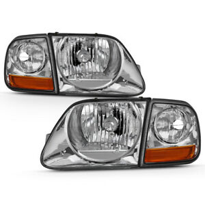 97 03 Ford F150 Expedition Chrome Replacement Headlight Corner Signal Lamp Set