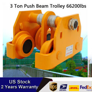 3t Push Beam Trolley Steel Fit Heavy Loads To 6600 Lb Fit I Beam