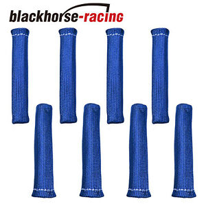 8 Pcs 1800 Spark Plug Wire Boots Heat Shield Protector Sleeve Sbc Bbc Blue