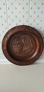 Stunning Large Treen Wooden Bowl Charger Platter Carved Flower Pattern