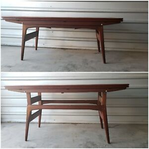 Mid Century Modern 1960s Retro Adjustable Convertible Coffee To Dining Table Vtg
