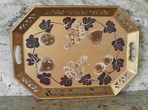 Vintage Tole Tray Gold Grapes Fruit Brown Beige 18 1 2 X 13 3 4 X 1 1 2