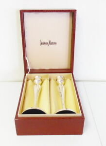 Vintage Pair Of Neiman Marcus Silver Plated Candlesticks W Box Free Shipping