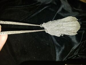 Vintage Antique Sterling Silver Woven Mesh Chainlink Purse Drawstring Closure
