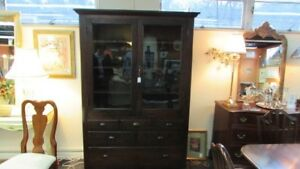 Country Store Display Cabinet Pantry 2 Glass Doors Showcase Apothecary Base