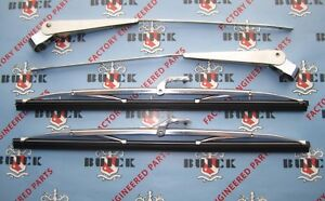 1954 1956 Buick Windshield Wiper Arms Blades Matched Pair Stainless Steel