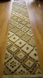 Moroccan Vintage Carpet Runner Hand Knotted Wool Oriental Rug 2 10 X 18