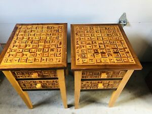 Atq Vtg Inlaid Marquetry Side Tables Bed Stands Drawer Handmade Mission Style