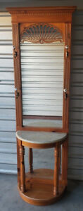Mid Century Vintage Carved Wood Hall Tree Stand W Mirror Marble Console Table