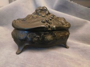Antique Art Nouveau Repousse Flower 4 Footed Jewelry Casket Box Signed 0328