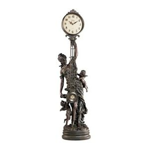 35 Large Antique Style Replica Victorian Goddess Swinging Pendulum Clock