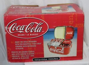 Vtg Coca Cola Coke Coolbox Cooler Radio CD Player 2 Speakers New in Box Unused
