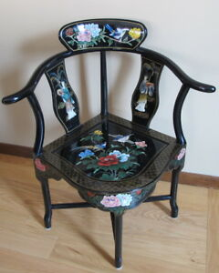 Vintage Chinese Black Lacquer Corner Chair W Floral Paintings Hardstone Geishas