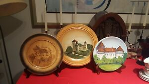 3 Vintage 2hand Carved Wooden Plates Collection Dubovac Castle Karlovac Croatia