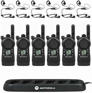 6 Motorola Cls1110 Uhf Two way Radios With Bank Charger Hkln4604 Headsets