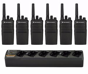 6 Motorola Rmu2080 Uhf Business Two way Radios Pmln6384 Bank Charger