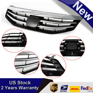 New For Honda Accord 2011 2012 Front Bumper Hood Abs Black Chrome Grille Grill