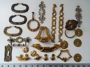 Lot Parts Antique Vintage French Furniture Ornament Cupboard Clock Bronze Brass