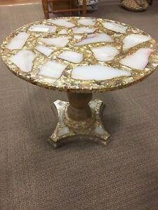 Coffee Side Table Mid Century Arturo Pani Gold Onyx Inlay Resin Art Deco Round