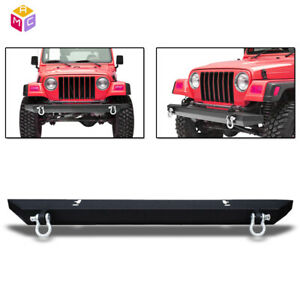 Rear Bumper W 2x D Ring Textured Steel Fit For 1987 2006 Jeep Wrangler Yj Tj