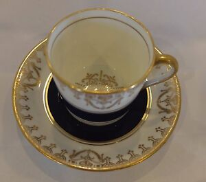 Vintage Cabinet Cup Saucer Sampson Smith Cobalt Blue Lots Of Gold Gilt Swags