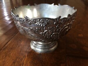 Fb Rogers Silver Plate Ornate Pedestal Bowl Decorative Sides Scalloped Edge 5x4