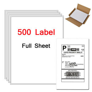 500 Full Sheet Shipping Labels Office Premium 8 5 X 11 Self Adhesive Blank Label