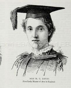 London University Women S Education 1st Lady Doctor Masters 1880s Antique Print