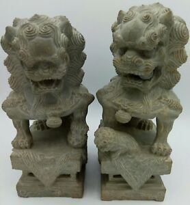 Chinese Guardian Lion Fu Foo Dog Temple Spirit Hand Carved Limestone Statue Pair