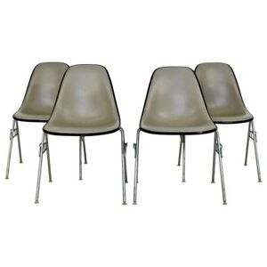 Mid Century Modern Set 4 Eames For Herman Miller Stackable Dss Side Chairs 1960s