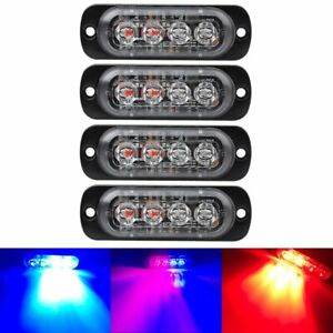 New 1x Red Blue 12v 24v Led Car Truck Motorcycle Light Warning Flash Strobe Lamp