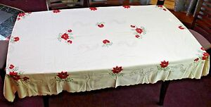 Vintage Hand Embroidered Tablecloth Exquisite Delicate Poinsettias