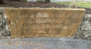 Vintage Antique Fishing Net With Wood Floats Old Authentic Used Fish Netting