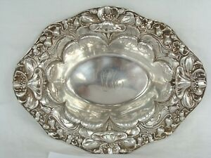 Antique Art Nouveau Sterling Silver Repousse Flower Border Bowl Dish 112gr