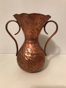 Arts And Crafts Period Hammered 7 Copper Double Handled Vase